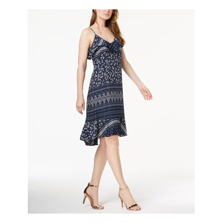 VINCE CAMUTO Womens Navy Printed Spaghetti Strap V Neck Knee Length Empire Waist Dress  Size: S Empire Waist Bow