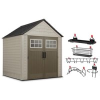 Rubbermaid 7x7 Feet Resin Outdoor Garden Tool Storage Shed & Shelf Accessories
