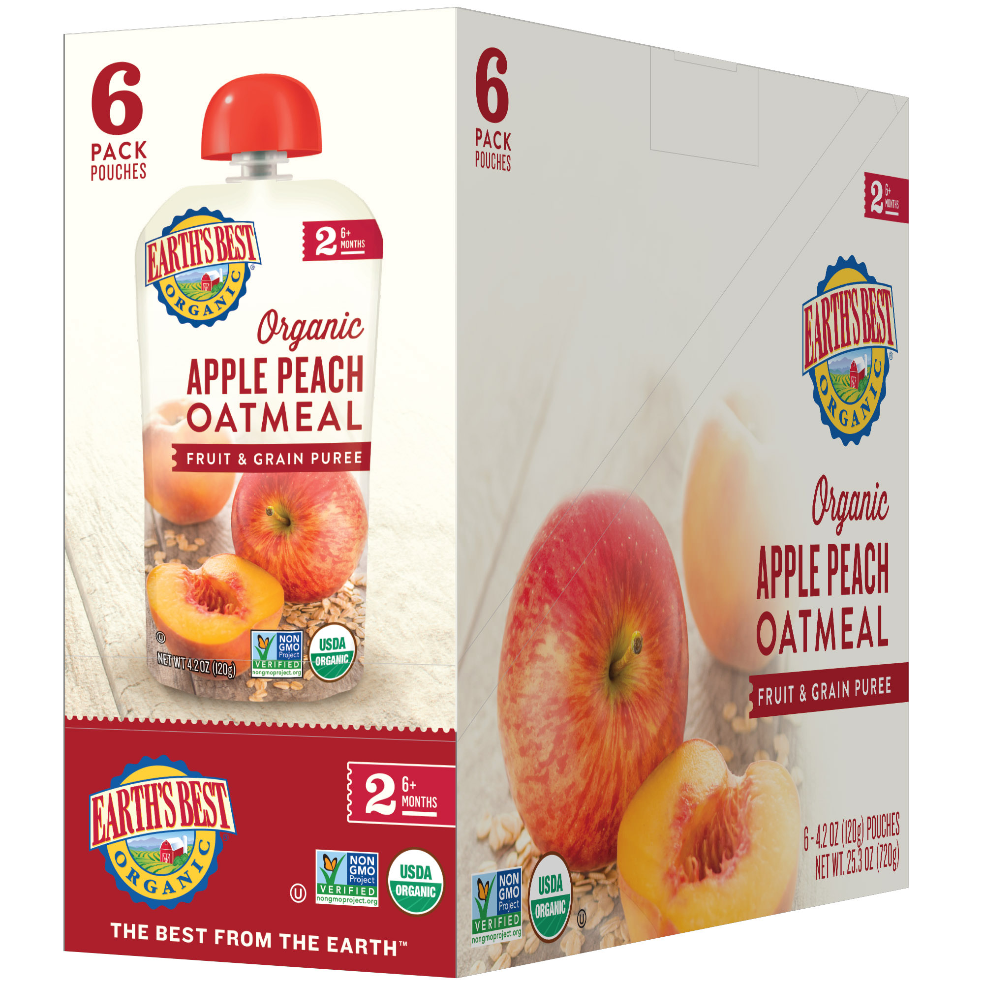 Earth's Best Organic Stage 2, Apple Peach Oatmeal Fruit and Grain Puree, 4.2 Ounce Pouch (Pack of 6)