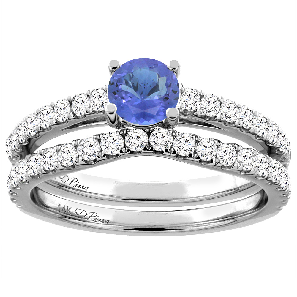14K White Gold Diamond Natural Tanzanite Engagement Bridal Ring Set Round 6 mm, size 5 by Gabriella Gold