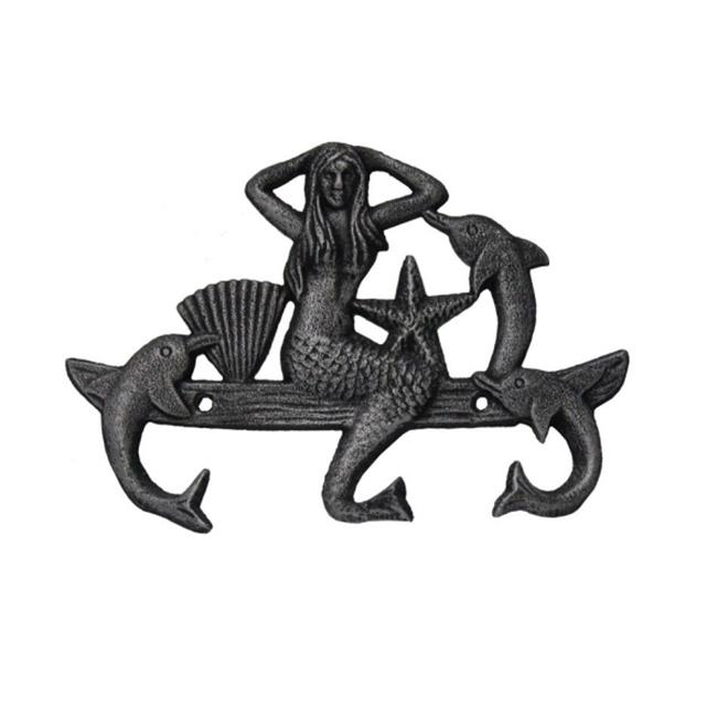 Handcrafted Model Ships G-54-755-SILVER 9 in. Cast Iron Wall Mounted Mermaid With Dolphin Hooks - Rustic Silver