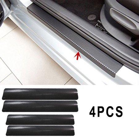 4x Carbon Fibre 3D Car Door Sill Scuff Protector Plate Sticker Cover Tool