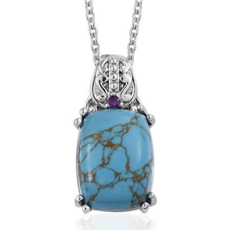 "Blue Turquoise Amethyst Pendant Necklace for Women Jewelry Gift 20"" in Stainless Steel"
