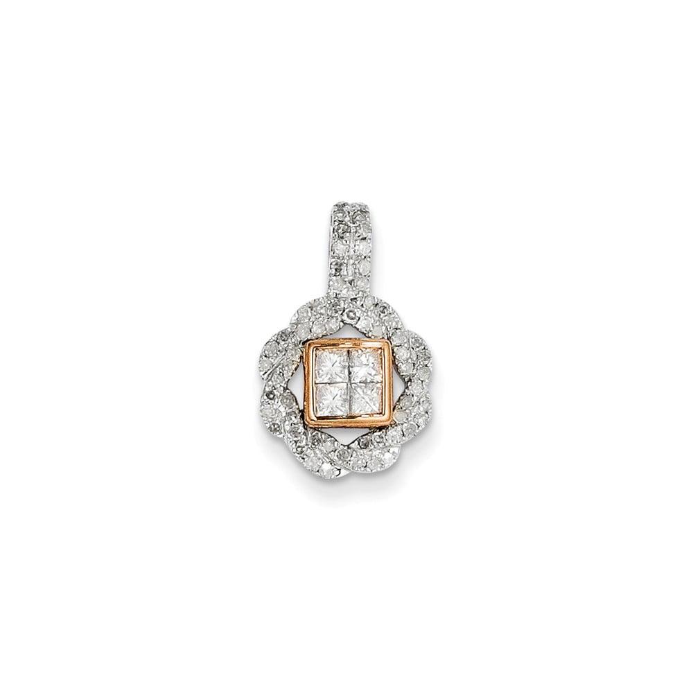 Sterling Silver Rhodium Plated & 14k Rose Gold Diamond Pendant. Carat Wt- 0.5ct