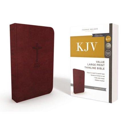 KJV, Thinline Bible, Large Print, Imitation Leather, Red Letter Edition