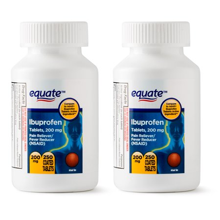 Equate Ibuprofen Coated Tablets, 200 mg, Twin Pack, 250 Count