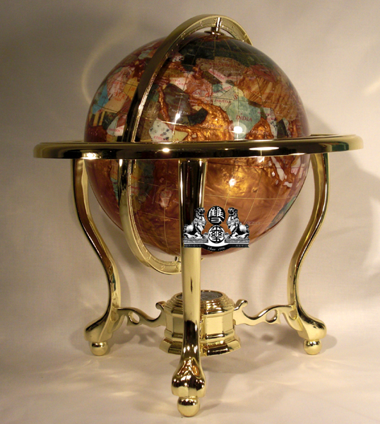 Unique Art 13-Inches Tall Table Top Amber Pearl Swirl Ocean Gemstone World Globe with Tripod Gold Leg Stand