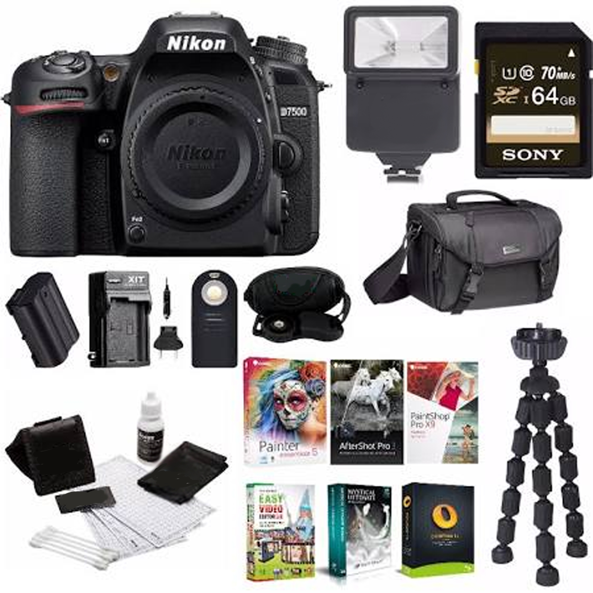Nikon D7500 DSLR Camera Body with Nikon Bag w/ 64GB Card & Battery Bundle