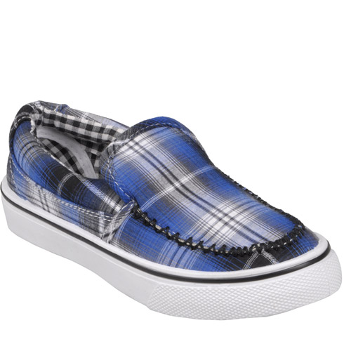 Brinley Co Kids Topstitched Plaid Slip-on Shoes