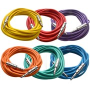 """Seismic Audio  - 6 Pack of Colored 1/4"""" TRS 25' Patch Cable - Balanced Effects EQ Multi-Colors - SATRX-25BGORYP"""