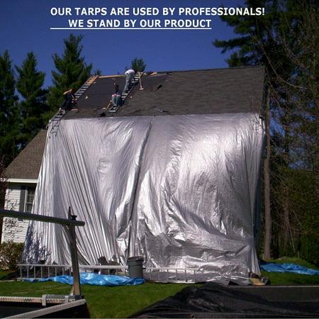 Gray Tarp Lightweight Heavy Duty Industrial Grade | Durable Fiber Reinforced Laminated Polyethylene Rust | UV Waterproof Resistant Grommets Rot Mildew Proof-for Cars, Camping, Trailers (16 X