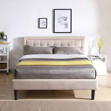 Low Post Double Bed (Modern Sleep Mornington Upholstered Platform Bed | Headboard and Metal Frame with Wood Slat Support | Linen, Multiple Sizes)