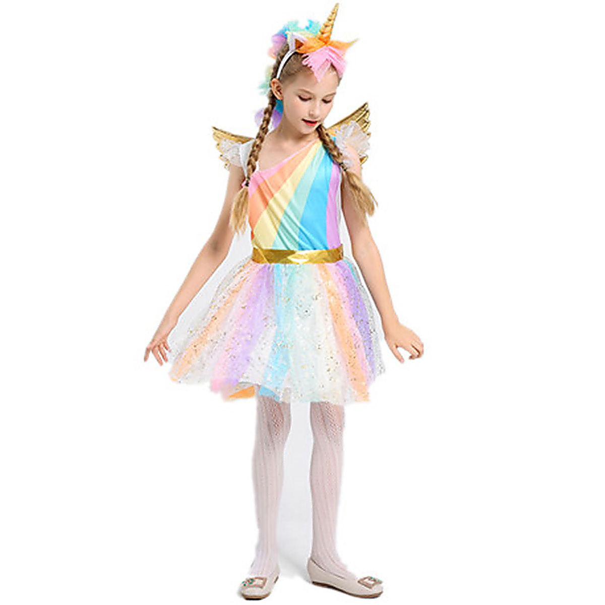 Girls Unicorn Costume Rainbow Dress with Wing Headband for Halloween Party