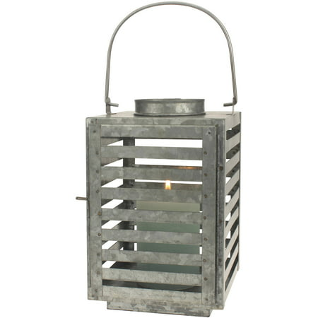 Stonebriar Collection Galvanized Metal Slated Lantern Pillar Candle Holder - Lantern Centerpieces For Wedding
