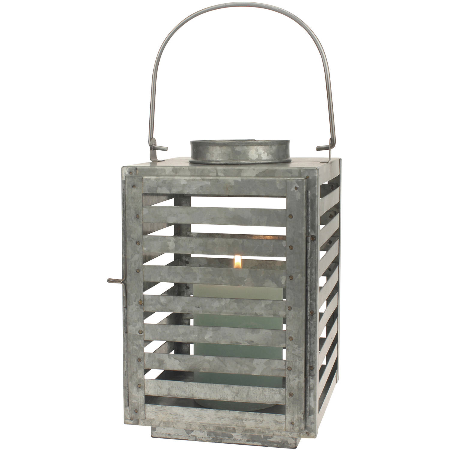 Stonebriar Collection Galvanized Metal Slated Lantern Pillar Candle Holder