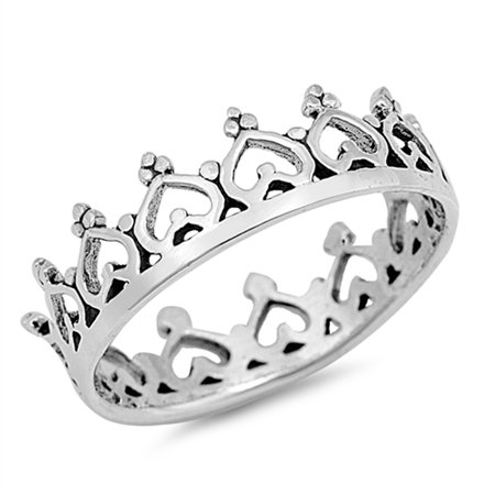 - Heart Crown King Princess Ring ( Sizes 4 5 6 7 8 9 10 ) New .925 Sterling Silver Tiara Band Rings by Sac Silver (Size 10)