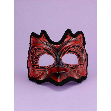 Red/Black Best Demon Mardi Gras Costume Half Mask One Size (Mardi Gras Costumes Plus Size)