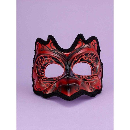 Red/Black Best Demon Mardi Gras Costume Half Mask One Size - Best Friends Costume