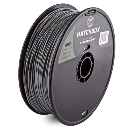 HATCHBOX 3D ABS-1KG1.75-SLV ABS 3D Printer Filament, Dimensional Accuracy +/- 0.05 mm, 1 kg Spool, 1.75 mm, Silver