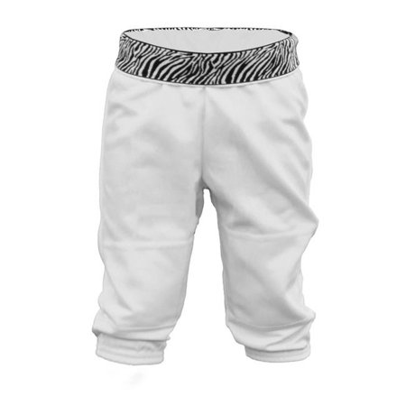 Girl Z Wristband Tee Ballpant, White & Zebra - Extra Large