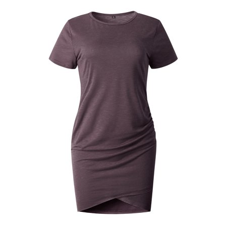 Womens Dress Bodycon Short Sleeve Above Knee Asymmetrical Pleated Solid Casual Dress