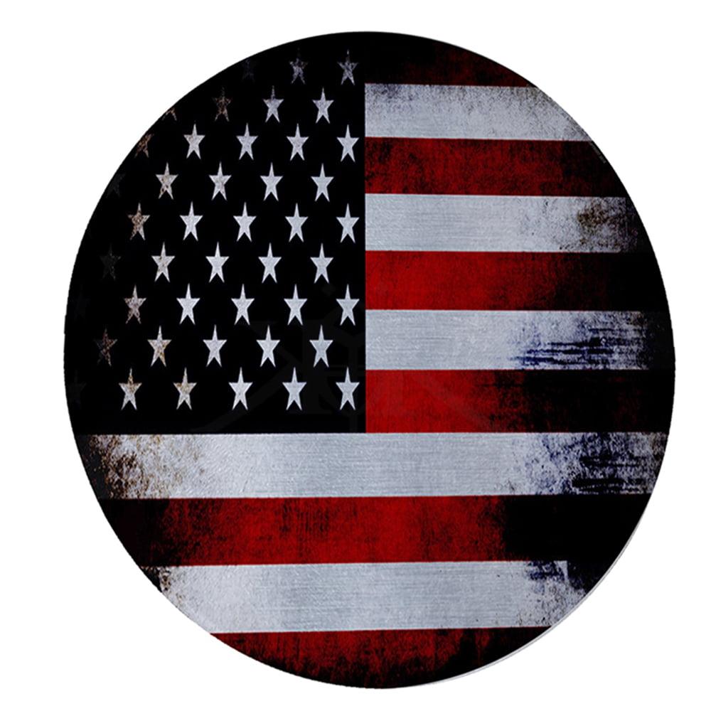 "KuzmarK 12"" Round Glass Cutting Board - American Flag"