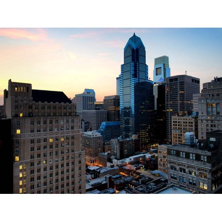 Philly Skyscrapers at Nightfall, Philadelphia, Pennsylvania, United States Print Wall Art By Philippe Hugonnard