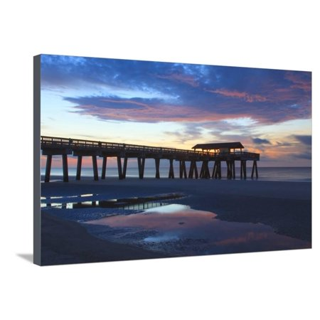 Georgia, Tybee Island, Early Morning at the Pier Stretched Canvas Print Wall Art By Joanne Wells