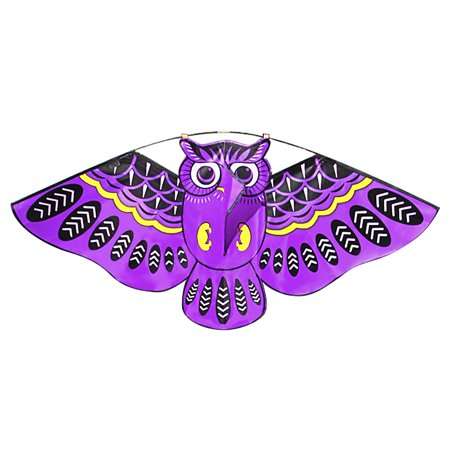 43 x 20 Inch Colorful Cartoon Owl Flying Kite with Kite Line Outdoor Toy for