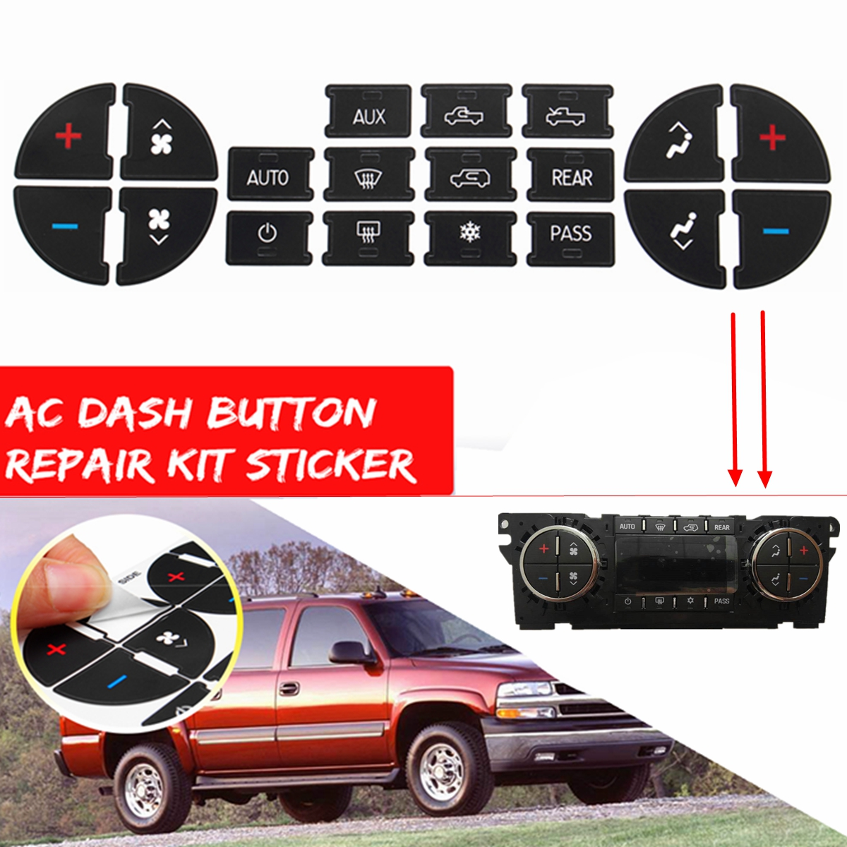 1X AC Dash Button Sticker Repair Kit Dash Replacement Decal Stickers Fits For GM