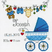 """It's A Boy! Birth Record Counted Cross-Stitch Kit, 8"""" x 8"""", 28-Count"""