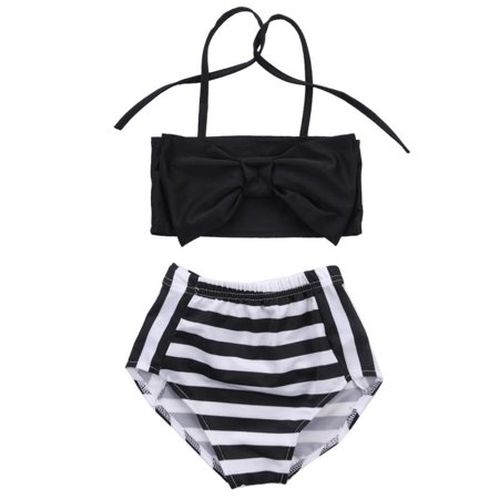 Baby Kids Girls Fashion Striped Cute Beach Swimwear Bikini Bathing Swimsuit Clothes
