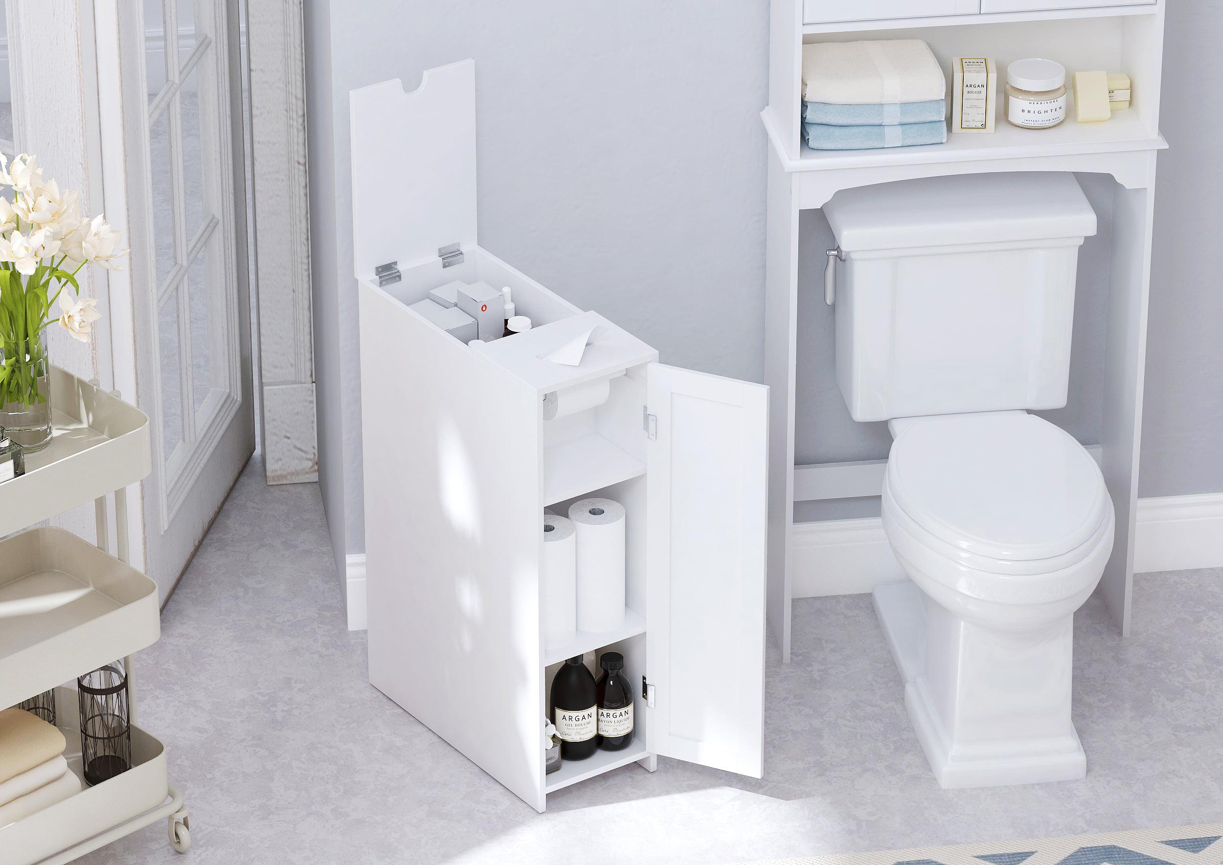 Utex Slim Bathroom Toilet Paper Storage Cabinet Rolling Free Standing Toilet Paper Holder Bathroom Cabinet 9 W X 30 H X 20 D White Walmart Com Walmart Com
