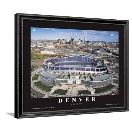 Dever Broncos- New Invesco Field Framed Art Print Wall Art  - 30x24