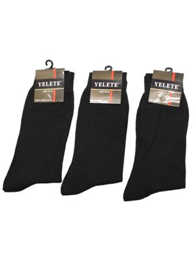 654517c82015 Product Image Yelete Solid Black Colored Men's Dress Socks (6 Pairs, ...