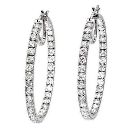 Harry Chad Enterprises 26938 3.40 CT Sparkling Round Cut Diamonds Hoop Earrings - 14K Gold - image 1 de 1