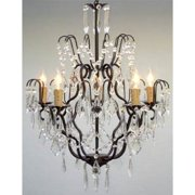 "Wrought Iron Crystal Chandelier Lighting H27"" x W21"" Swag Plug In Chandelier"