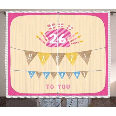 26th Birthday Curtains 2 Panels Set, Anniversary Flag with Best Wishes Message Life Modern Design Print, Window Drapes for Living Room Bedroom, 108W X 108L Inches, Peach and Hot Pink, by