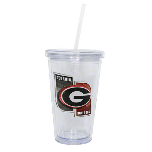 NCAA - Georgia Bulldogs Double Wall Tumbler with Straw