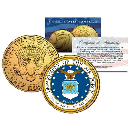 United States AIR FORCE * Emblem * 24K Gold Plated JFK Half Dollar Coin MILITARY