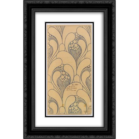 Koloman Moser 2x Matted 16x24 Black Ornate Framed Art Print 'Fabric design with floral awakening for