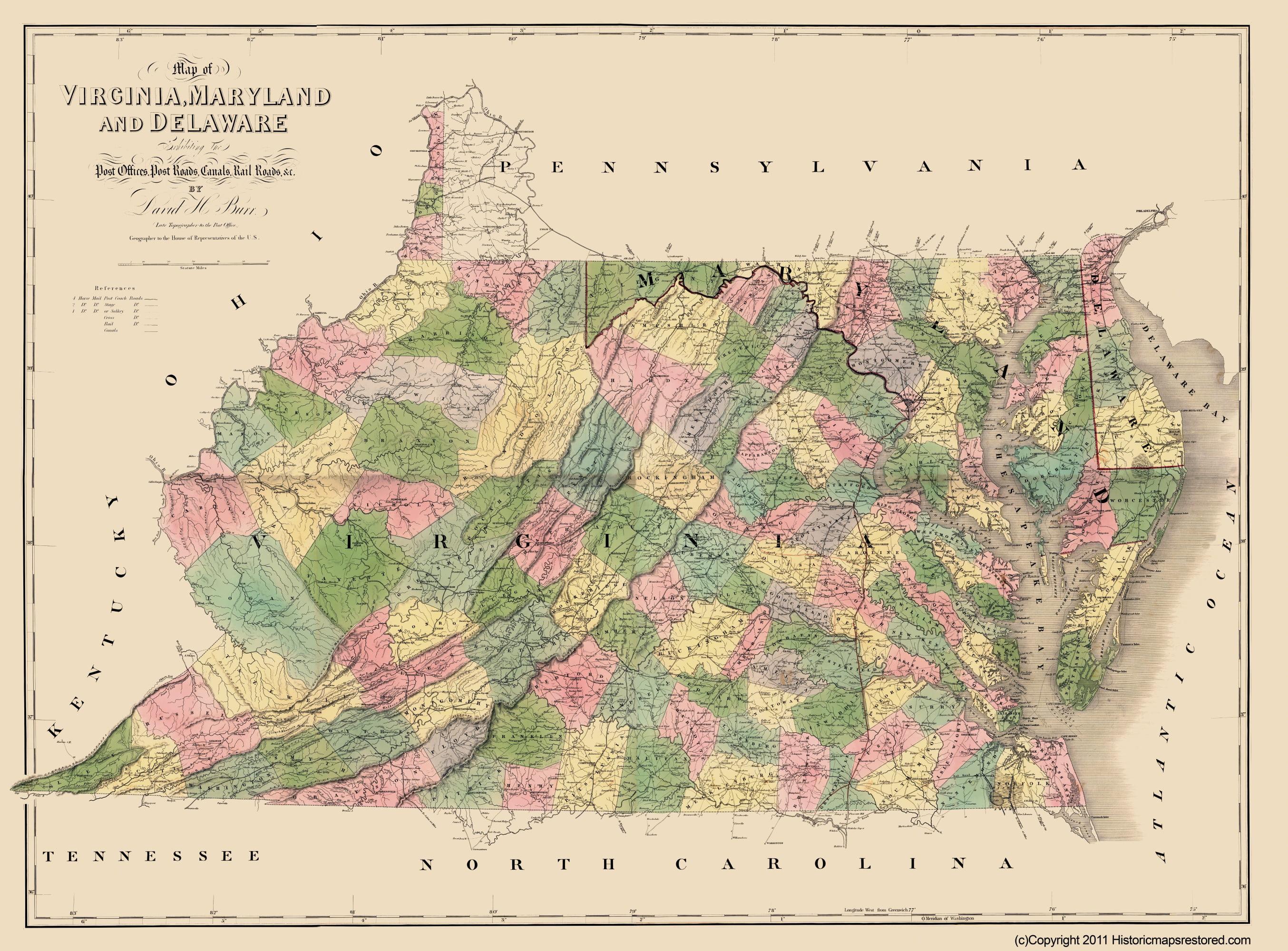 Civil War Map Print - Virginia, Maryland, Delaware - Burr 1862 - 23 ...