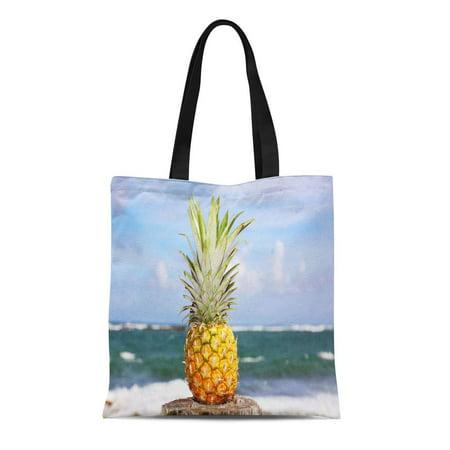 SIDONKU Canvas Tote Bag Green Plantation Pineapple Oceanfront Tropical Island Yellow Rum Beach Reusable Shoulder Grocery Shopping Bags Handbag - Pineapple Rum