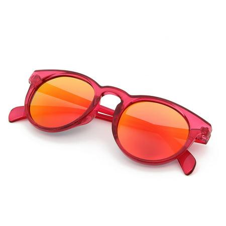 Round Anti Glare - Cyxus Kids Girls Polarized Sunglasses for Anti Glare UV400 Protection, Classic Fashion Round Red frame