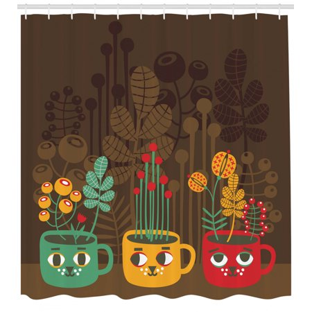Modern Shower Curtain, Cute Plants Flowers inside Faced Cups Pottery Theme Creative Funky Artful Print, Fabric Bathroom Set with Hooks, 69W X 70L Inches, Multicolor, by Ambesonne ()