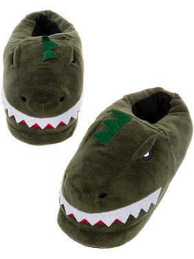Silver Lilly Dinosaur LED Slippers - Light Up T-Rex Slip Ons w/ Comfort Foam