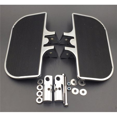 HTT-MOTOR Motorcycle Chrome Passenger Mini Floorboards Rear Footboards Foot Rest Pegs Mounts Fit Harley-Davidson Electra Glide Heritage Softail Fat Boy
