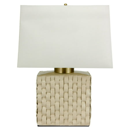 Oriental Furniture Basket Weave Cream Porcelain Jar Table Lamp