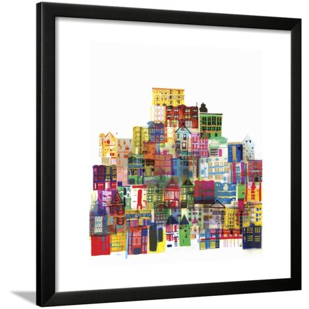 Watercolor Flag Map of North and Central America Framed Print Wall Art By Jennifer