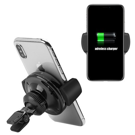 size 40 4f97d b03dc 2-in-1 Car Qi Wireless Charging Pad Car Mount, by Insten Wireless Qi  Charger 360 Rotation Air Vent Automatic Lock LED Car Phone Holder for  iPhone X 8 ...